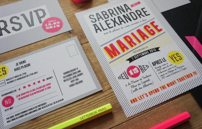 Faire-part mariage sur mesure graphique et moderne