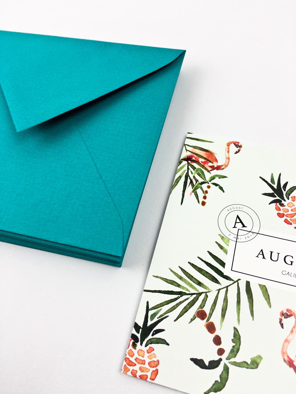 faire part naissance sur mesure tropical et enveloppe imprimée