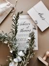 Faire-part de mariage classique papier noir impression encre blanche