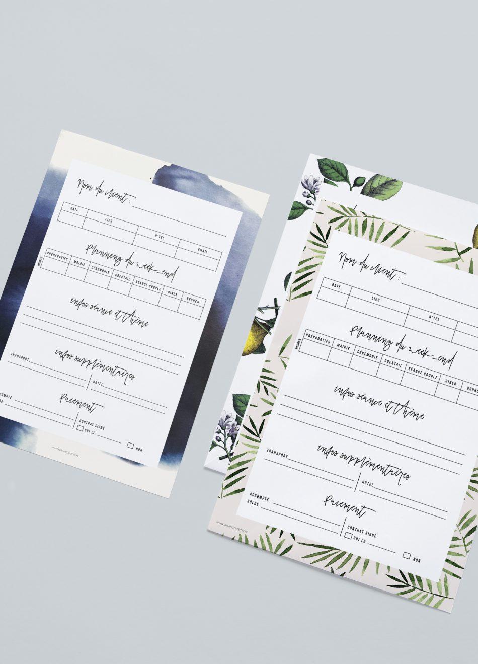 Planning à télécharger pour photographe de mariage