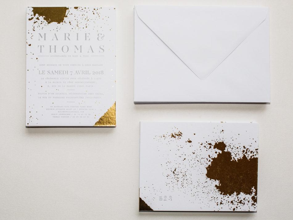 Ensemble de papeterie mariage luxe, letterpress et dorure a chaud et son enveloppe blanche claifontaine
