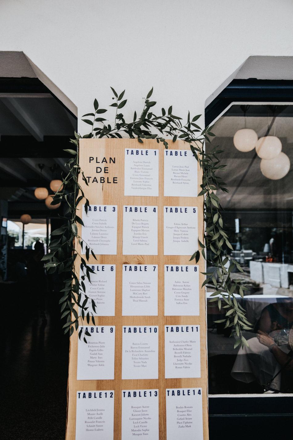 hotel le madrid guethary plan de table et décoration mariage