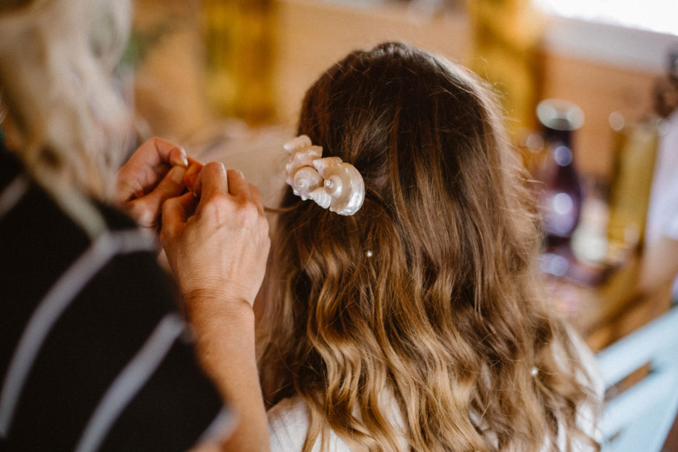 bijoux de tete mariag en coquillage