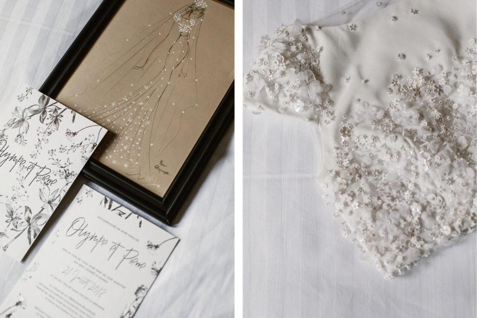 Faire part mariage en letterpress et robe de mariage sur mesure Rime Arodaky