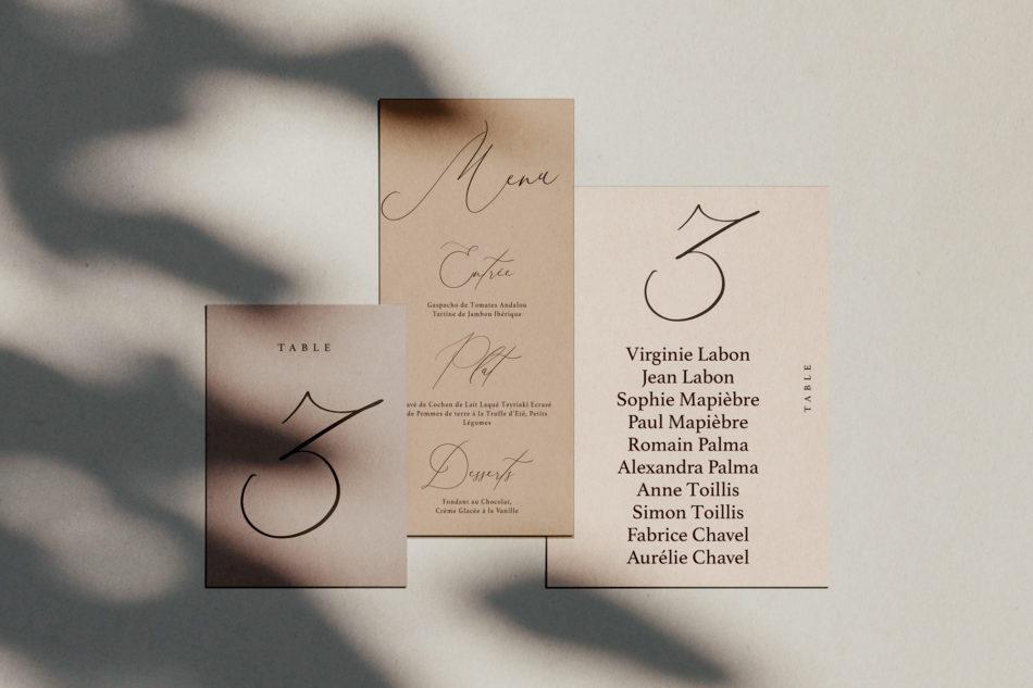 Collection la vita bella et ses menus, numero de table et plan de table mariage dans un style classique et romantique