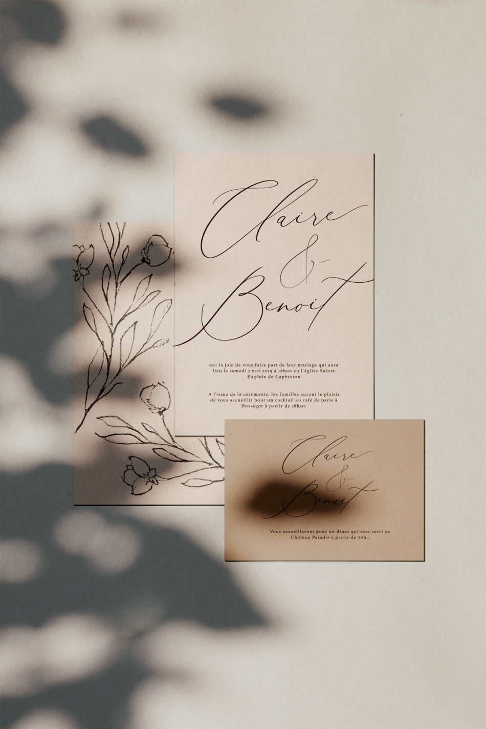 Collection la vita bella, Faire-part mariage et carton d'invitation au dinerdans un style classique et romantique