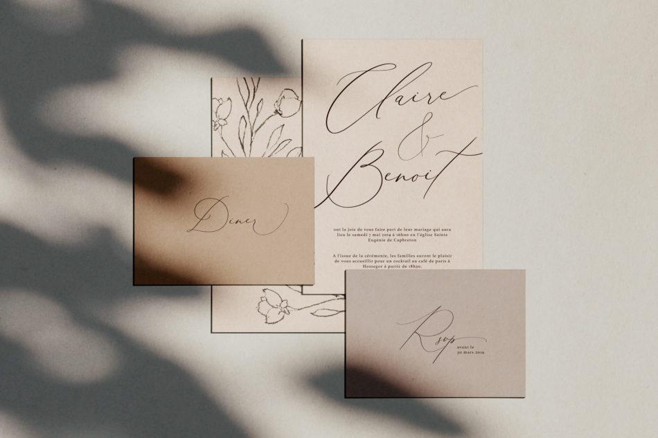 Collection la vita bella, Faire-part mariage et carton d'invitation au diner, RSVP dans un style classique et romantique