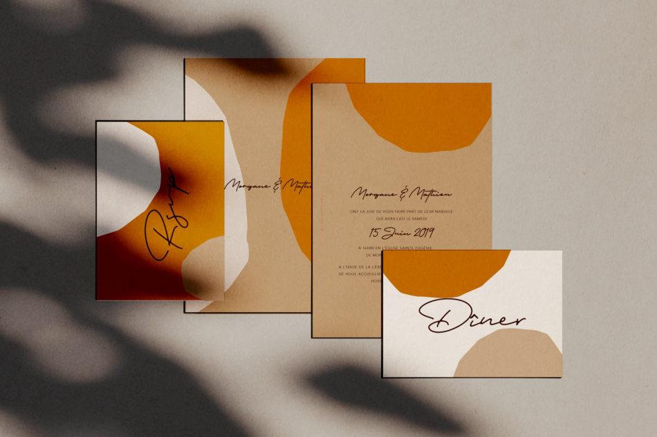 Collection Laguna beach, Faire-part mariage, carton RSVP,carton d'invitation diner mariage dans un style arty et coloré