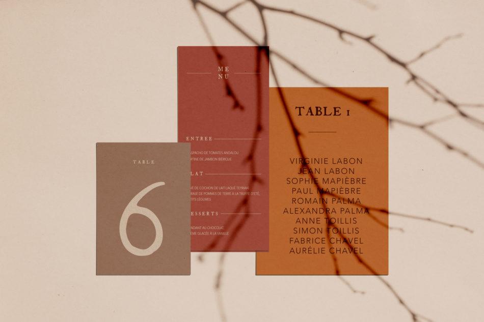 Collection Terracot, plan de table mariage, nom de table,et menu mariage aux couleurs Terracotta et chaudes
