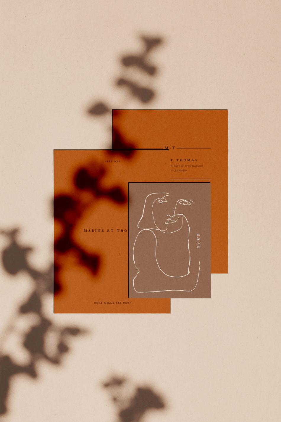 Collection Terracot, Faire-part mariage, carton RSVP, aux couleurs Terracotta et chaudes