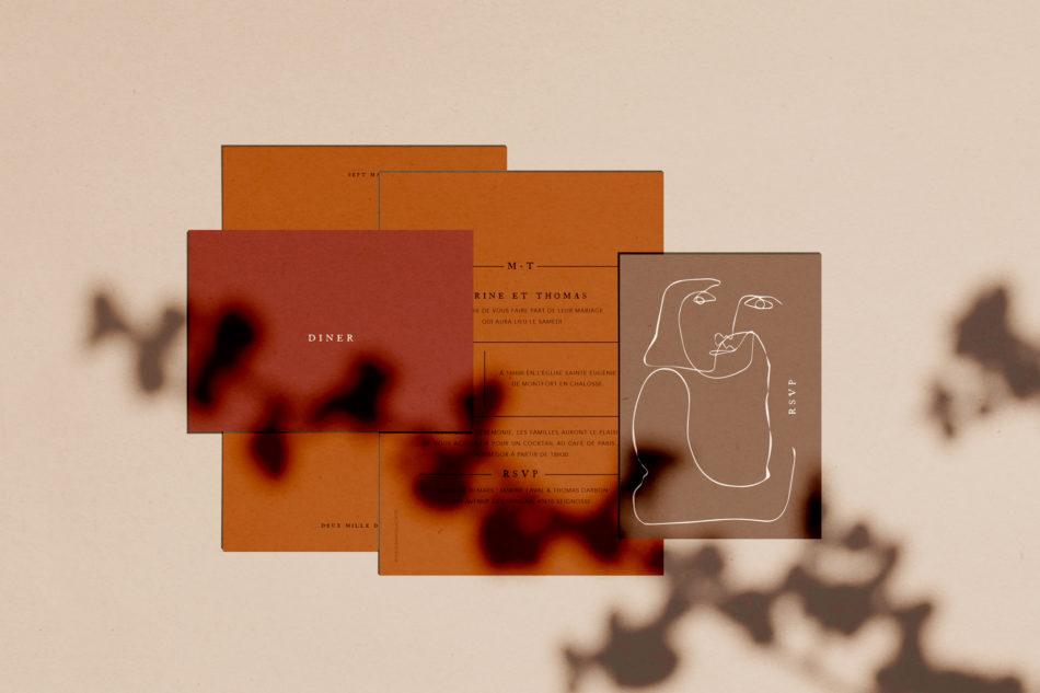 Collection Terracot, Faire-part mariage, carton RSVP,carton d'invitation diner mariage aux couleurs Terracotta et chaudes