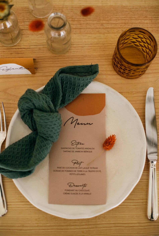 papeterie mariage menu