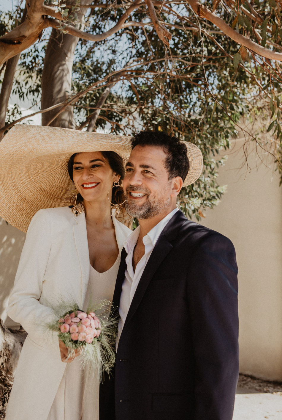 smiling bride and groom in provence