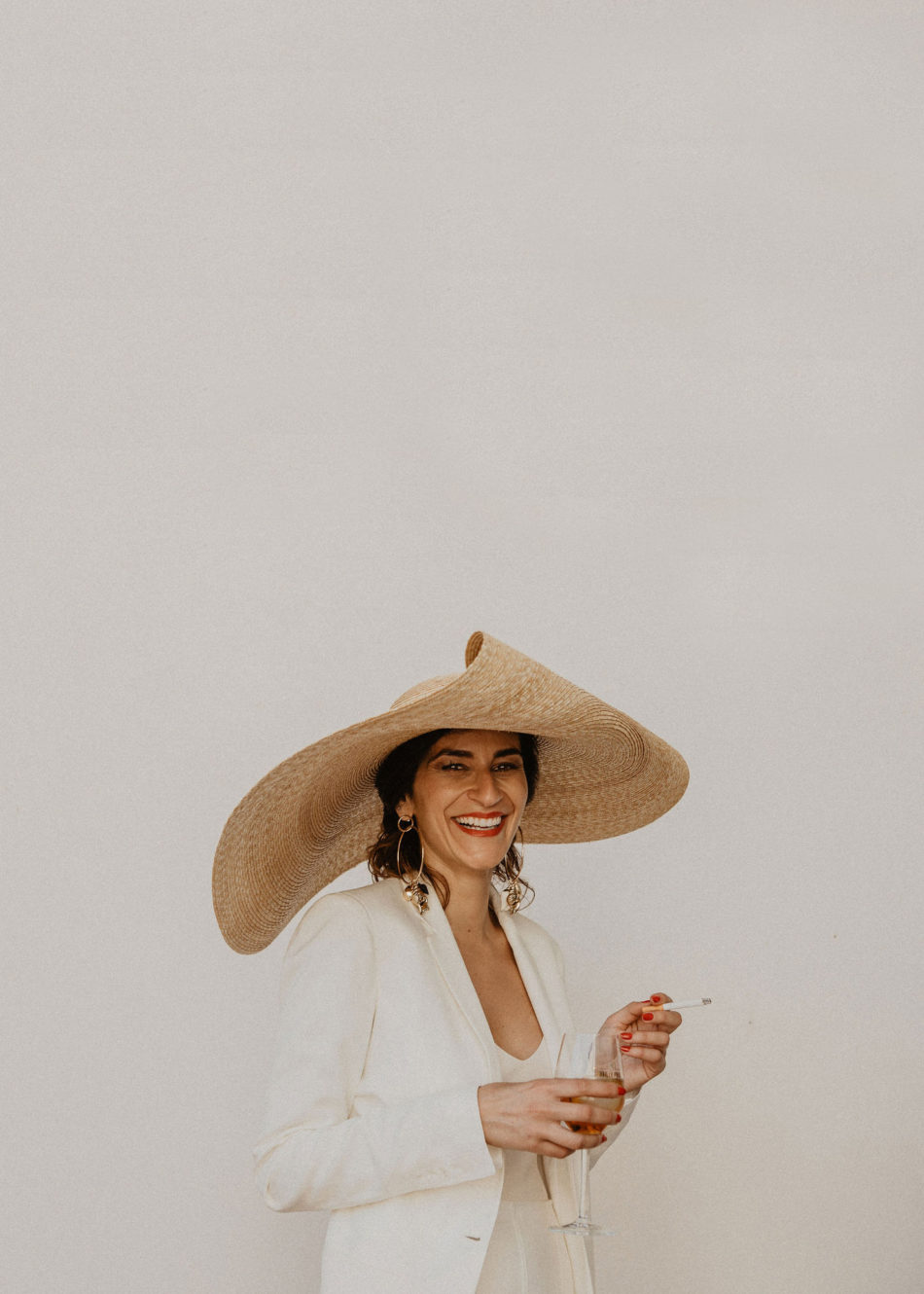 chic and moderne bride wearing Jacquemus outfit
