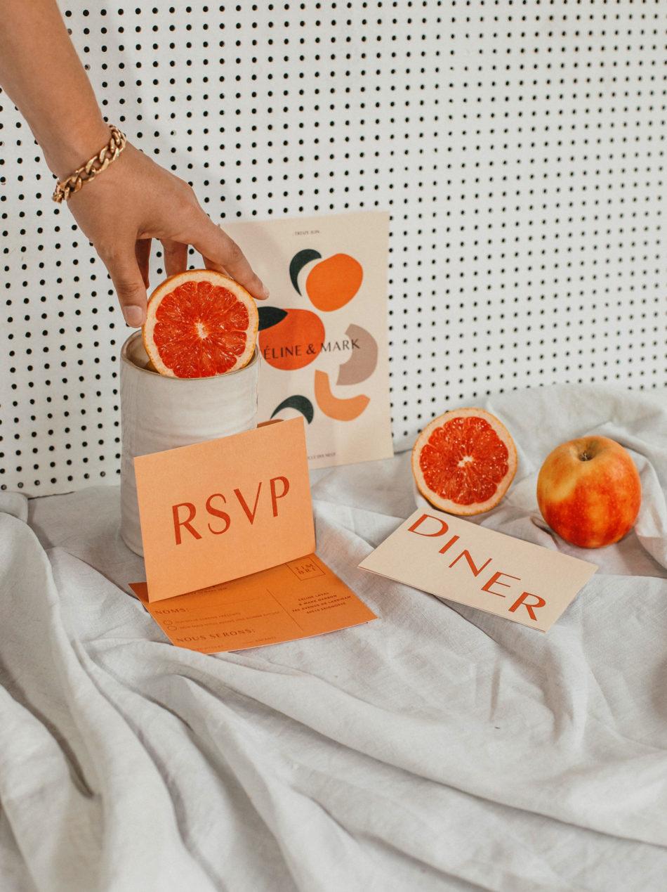 FAIRE PART DE MARIAGE AVEC DES FRUITS