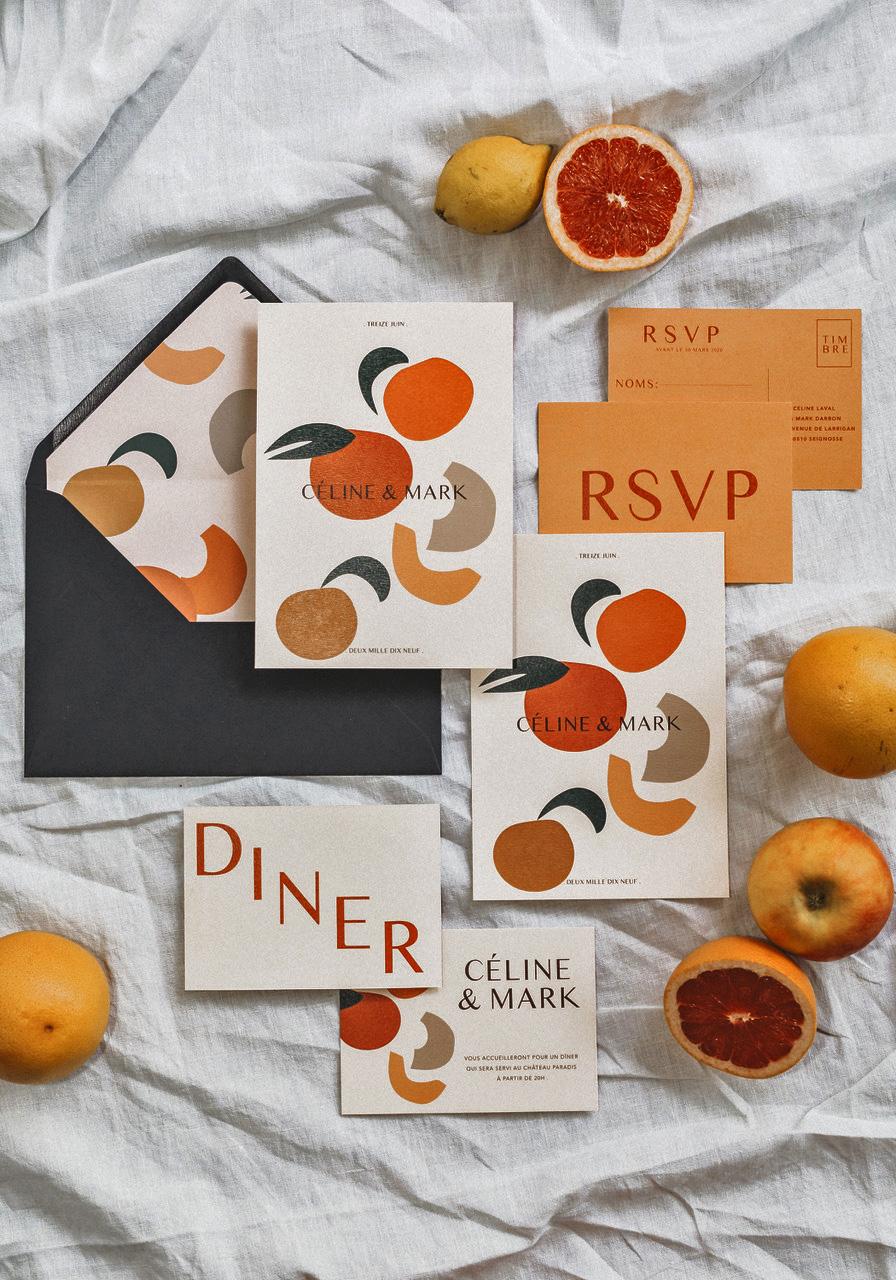 INVITATION DE MARIAGE AVEC DES FRUITS EN FORMES ABSTRAITES