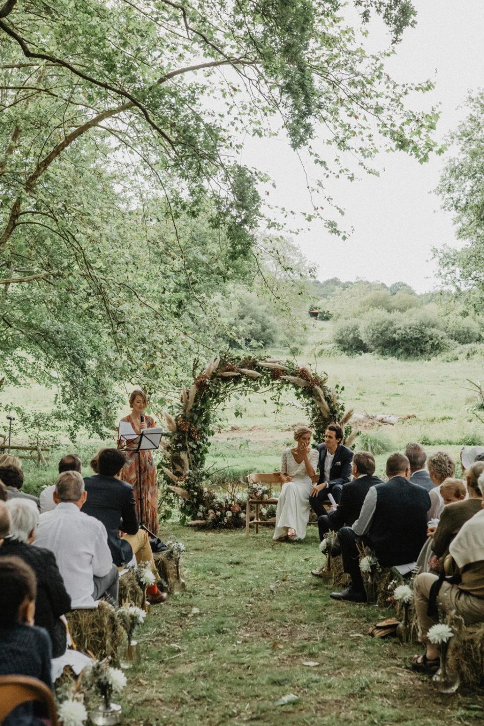 arche de ceremonie pampa et fleurs sechees
