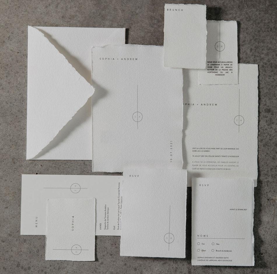 papeterie mariage papier artisanal blanc