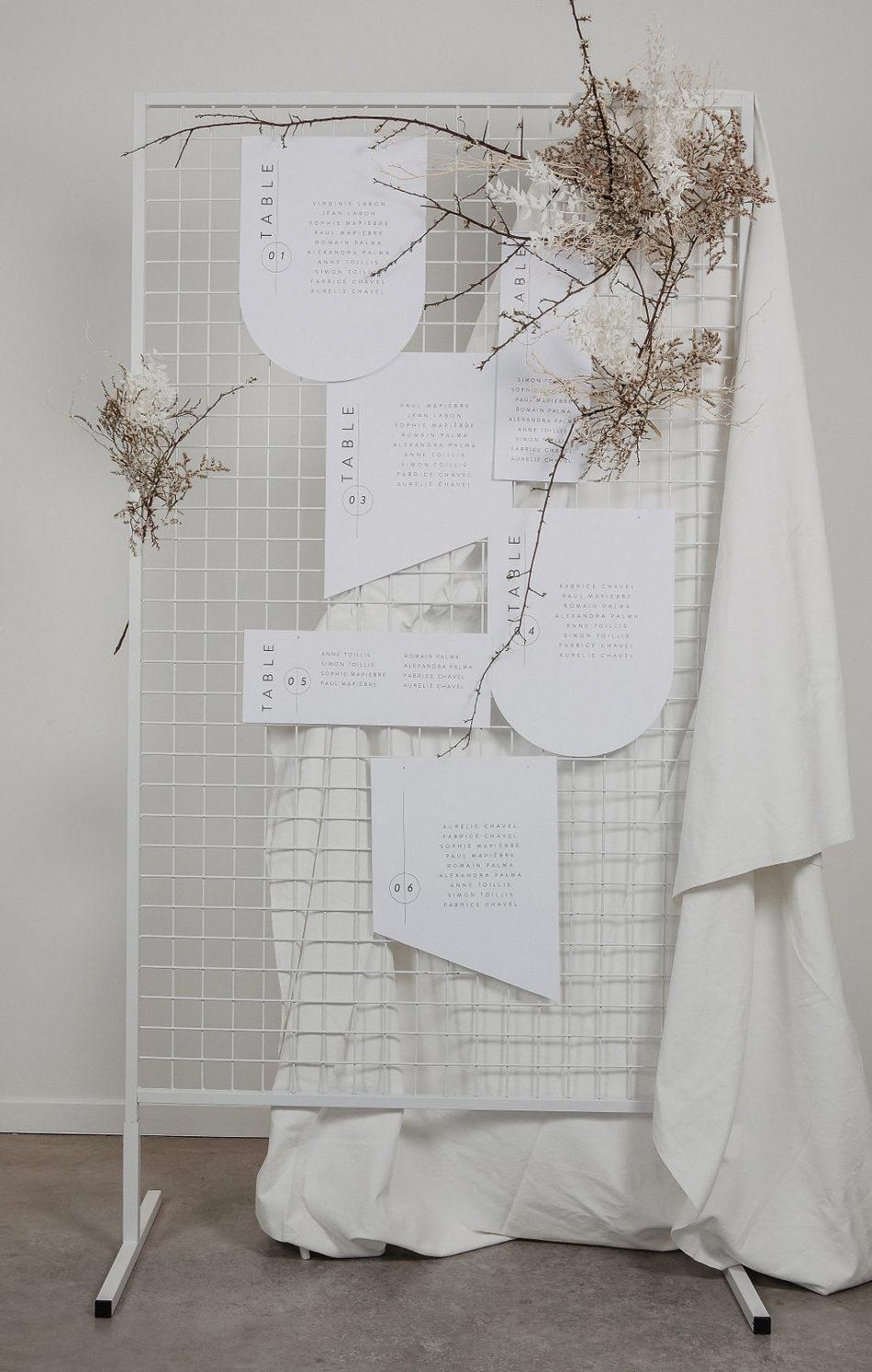 Mariage Jpandi et plan de table blanc