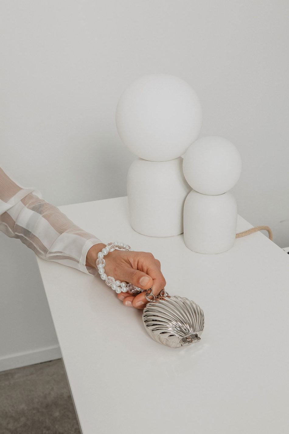 sac coquillage argenté mariage