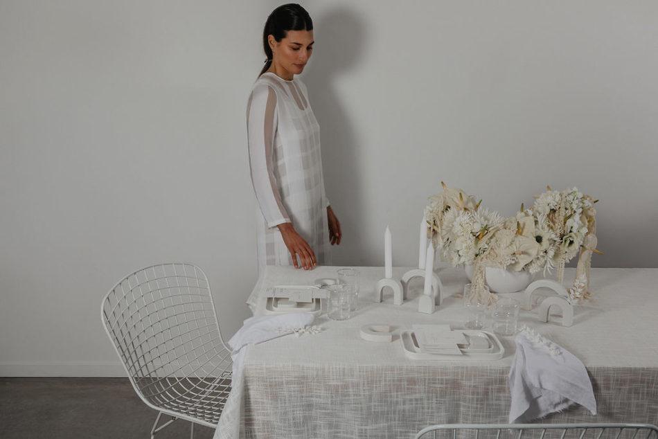 table mariage japandi tout blanc